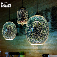 3D Glass Cord Pendant Lamp Attic American Modern Industrial Style Pendant Lights For Restaurants Bar Coffee