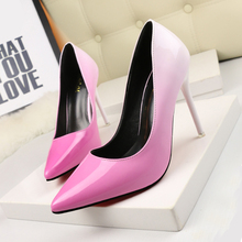 Free shipping spring women's pointed toe gradient colors high heel shoes shallow mouth OL ultra thin heel single work shoes