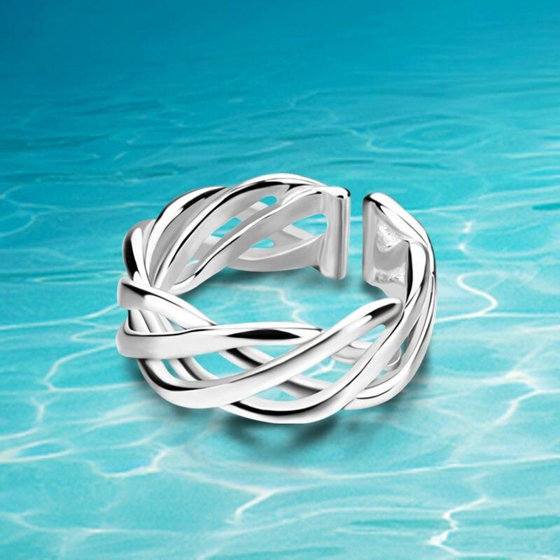 Envío gratuito, anillo de Plata de Ley 925, anillo de red hueco apropiado para hombres y mujeres. Versión amplia abierto
