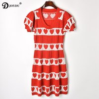 JOYDU Best Quality Runway Summer Dress 2018 Red Heart Striped Jacquard Hollow Out Puff Sleeve Knitted Fashion Dresses For Women