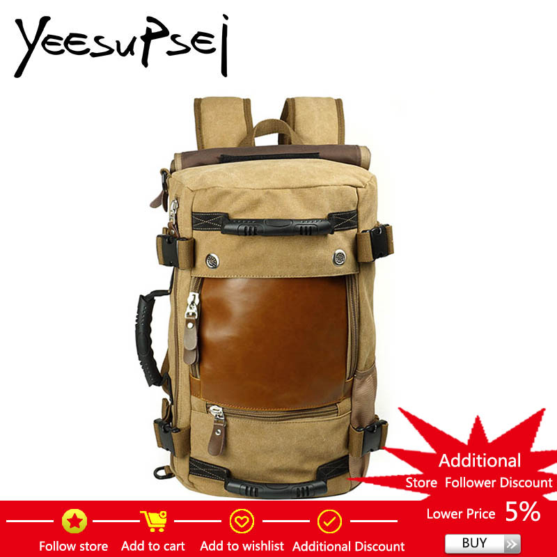 YeeSupSei Vintage Leather Cover Canvas Travel Backpack Men School Backpack Men Travel Bag Big Canvas Backpack Large Capacity Bag mco men s vintage canvas backpack school luggage shoulder bag computer functional hand bag large capacity travel laptop backpack
