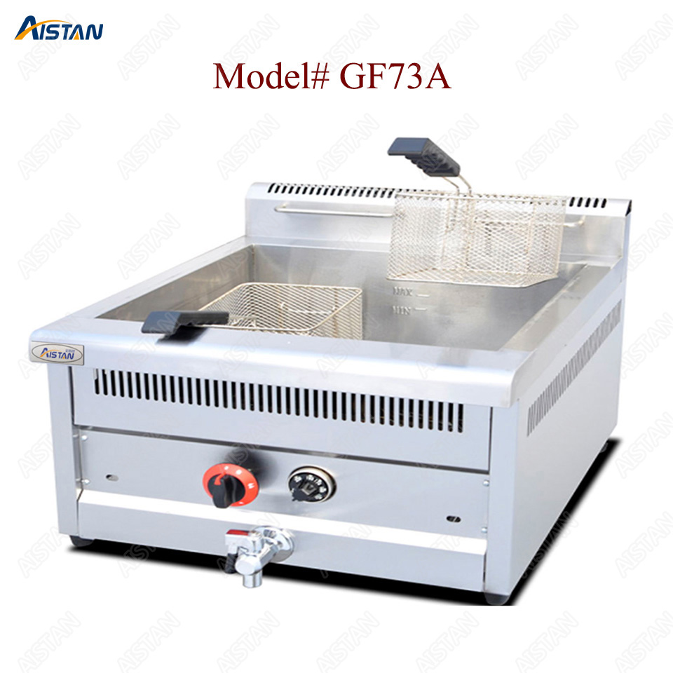 GF71A/GF72A/GF73A commercial counter top stainless steel big volume lpg gas chicken deep fryer machine with basket 3