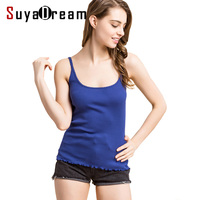 Women Lace Camis 70 Real Silk 30 Cotton Base Camisole Solid Bottoming Shirt 2017 Summer Vest