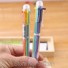 100 개/몫 여러 가지 빛깔의 볼펜, 6 색 볼펜, 어린이와 학생을위한 귀여운 볼펜 선물 펜.