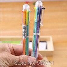 100 pçs/lote Multicolor Caneta Esferográfica, 6 cores caneta esferográfica, bonito caneta esferográfica caneta de presente para crianças e estudantes.