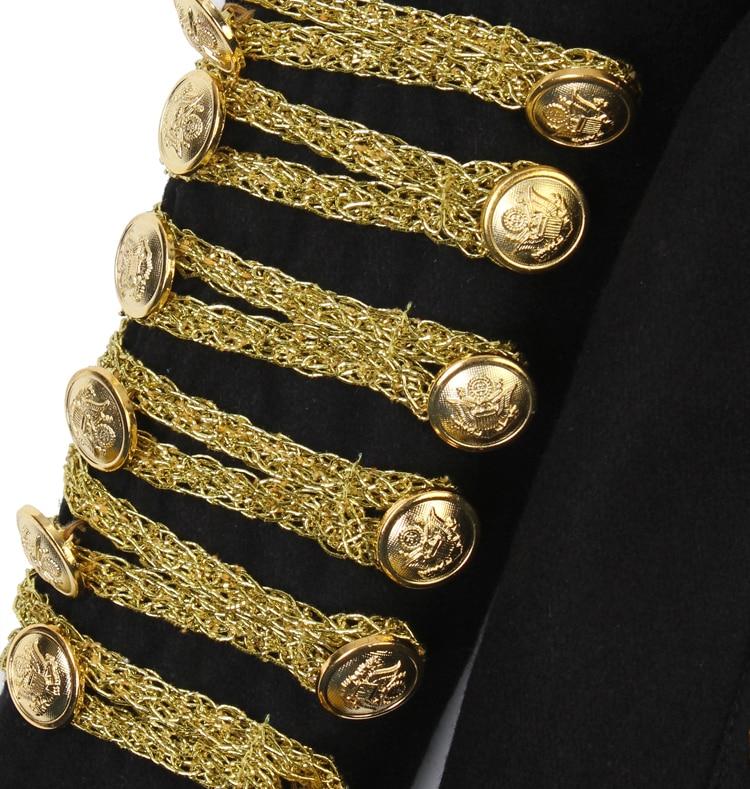 Manteaux Femmes Noir Double Femme rouge Or De Croisé 2018 Manteau Mode Lady Slover black Black Gold hiver Automne Militaire Vintage Uniforme Blazer Cour Blazers qx74U08T
