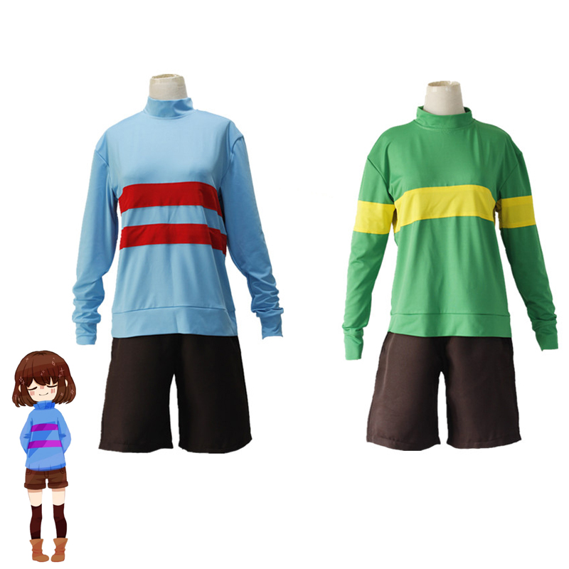 2pcs/set Game Undertale Chara Frisk Cosplay Costume Halloween Unisex Sweatshirts Casual Pullover High collar Long Sleeve Coat