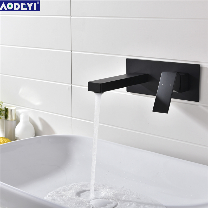 7 Faucet Finishes For Fabulous Bathrooms: Bathroom Brass Black/Chrome Finish In Wall Basin Faucet