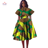 Hitarget 2019 Summer Bazin African Dresses for Women Dashiki African Wax Print Splice Dresses Traditional Clothing WY3060