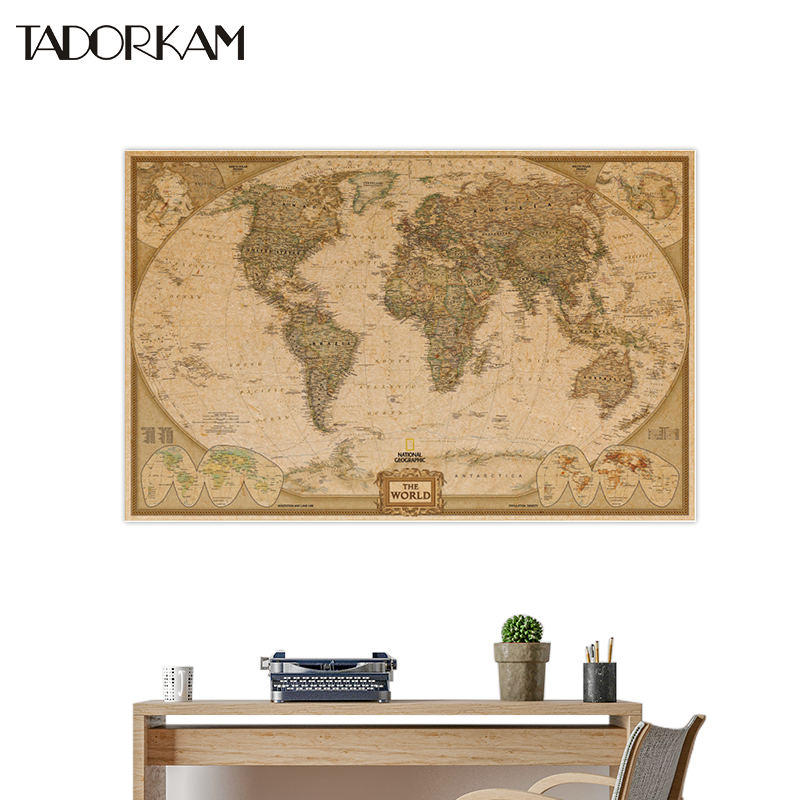 1pc DIY Large Vintage Matte Kraft Paper Earth Moon Retro World Map Poster Wall Chart Wall Stickers Home Decorations