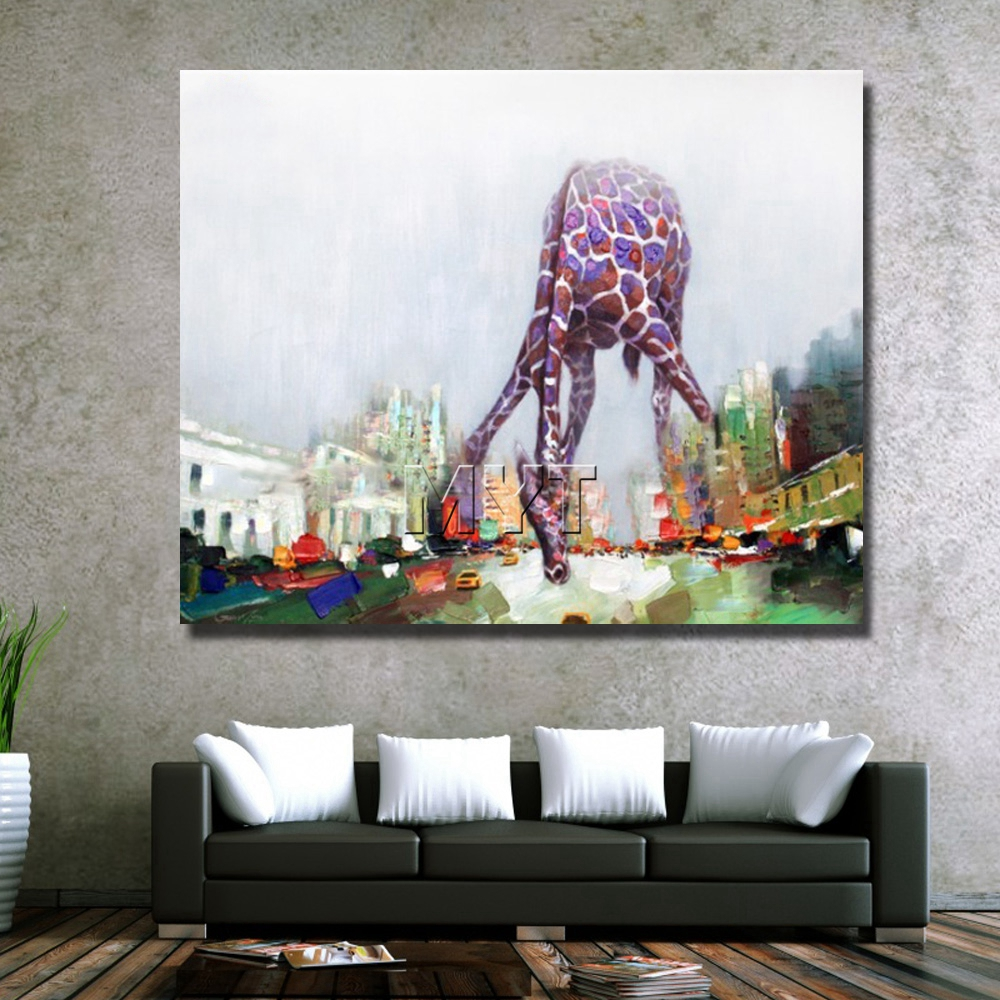 Giraffe abstract cartoon animal picture oil painting hand drawing abstract animal home goods oil painting free shipping  2