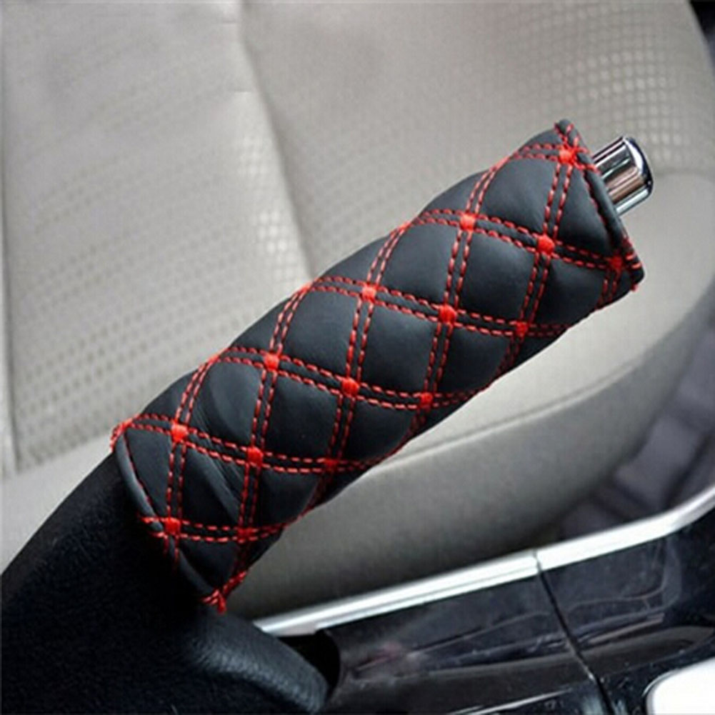 Car Gear Shift HandBrake Hand Brake Cover Grid PU Cover Set Black Red and Balck white