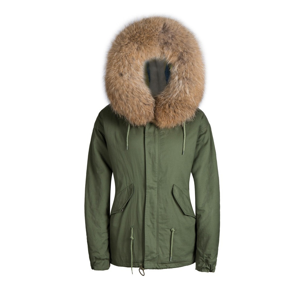 Mr высокое качество искусственный мех кролика Короткие удобные коричневый модные для мужчин пальто плюс размеры xxl, xxxl парка - Цвет: Армейский зеленый