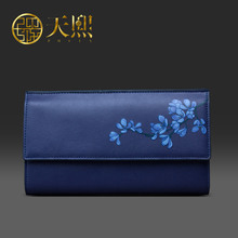 Luxury Chinese Style Women Wallets Party Purse Banquet Clutch Bags Flower print/2016 New/Blue/Cowhide split leather 420032
