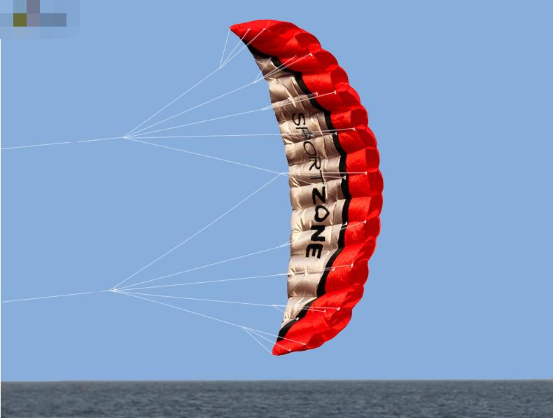 free shipping dual line 2.5m Parafoil kites flying rainbow Sports Beach stunt kite with handle ripstop nylon outdoor kitesurf