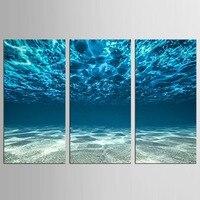 3 יח'\סט קרקעית ים כחול מודרני ציור נוף ימי על בד הדפסת בית תליית יצירות אמנות תמונת קיר עיצוב חדר השינה של ילדים