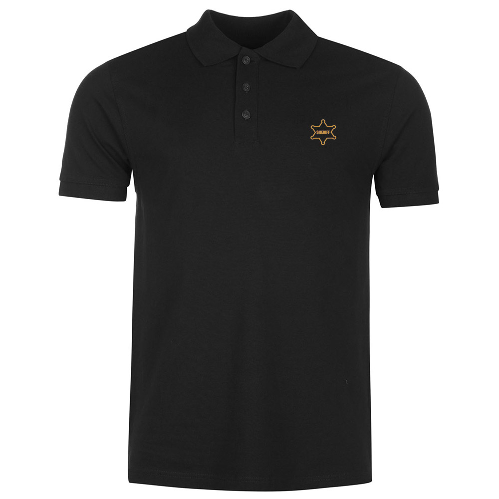 Mens Sheriff Star Badge Embroidery Masons Embroidered Casual   Polo   Shirts