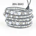 New arrival Exquisite Quality pearl crystal weave bracelet grey Leathe infinity bangles adjustable bracelets women JBN-8843