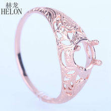 HELON Vintage Art Nouveau 5.5-6mm Round Estate Semi Mount Engagement Wedding Ring Setting Real 14k Rose Gold For Women's Jewelry