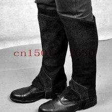 Жёсткая ношение конный брезент защитника ногу парни половина теплые черный брюки