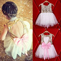 Kids Girl Backless Sequins Dress Baby Girl Dress Party Gown Formal Dresses Tulle Tutu Bow Backless Dress