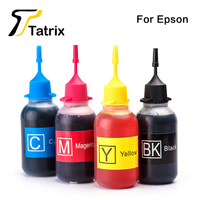 Tatrix New Refill Dye Ink For Epson Refillable Ink Cartridge 4X50ML For Epson T1291 T1281 T0731
