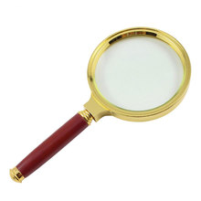 Handheld Magnifier Jewelry Loupe Glass Lens 5 X Imitation Wood Handle Transparent