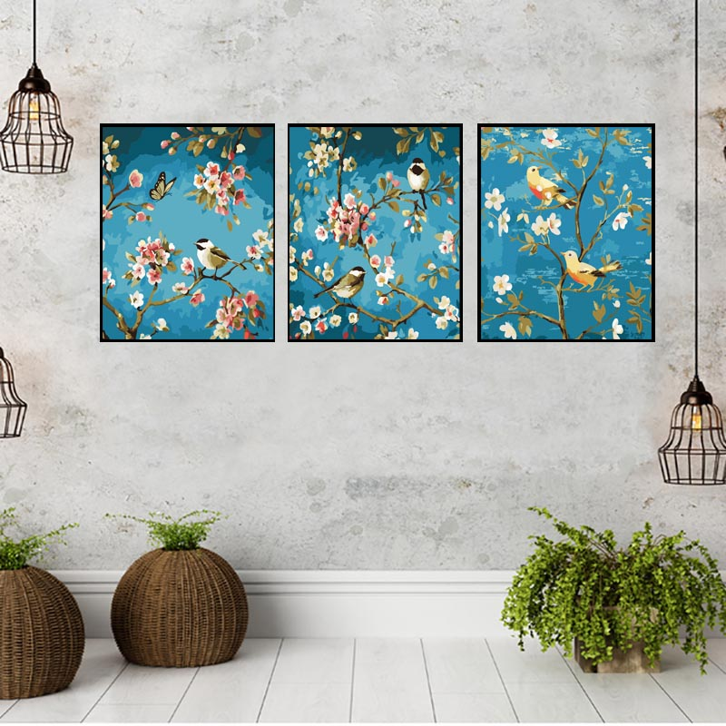 HTB1jo4zXNTpK1RjSZR0q6zEwXXaa 3 pcs DIY Oil Painting by Numbers Flower Triptych Pictures Animal Coloring Landscape Abstract Paint Wall Sticker Home Decor Gift