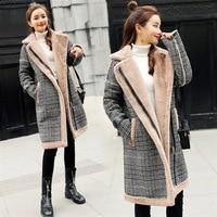 4xl plus big size jackets women spring autumn winter 2018 feminina new velvet thickening grid cloth long coats female Y1596