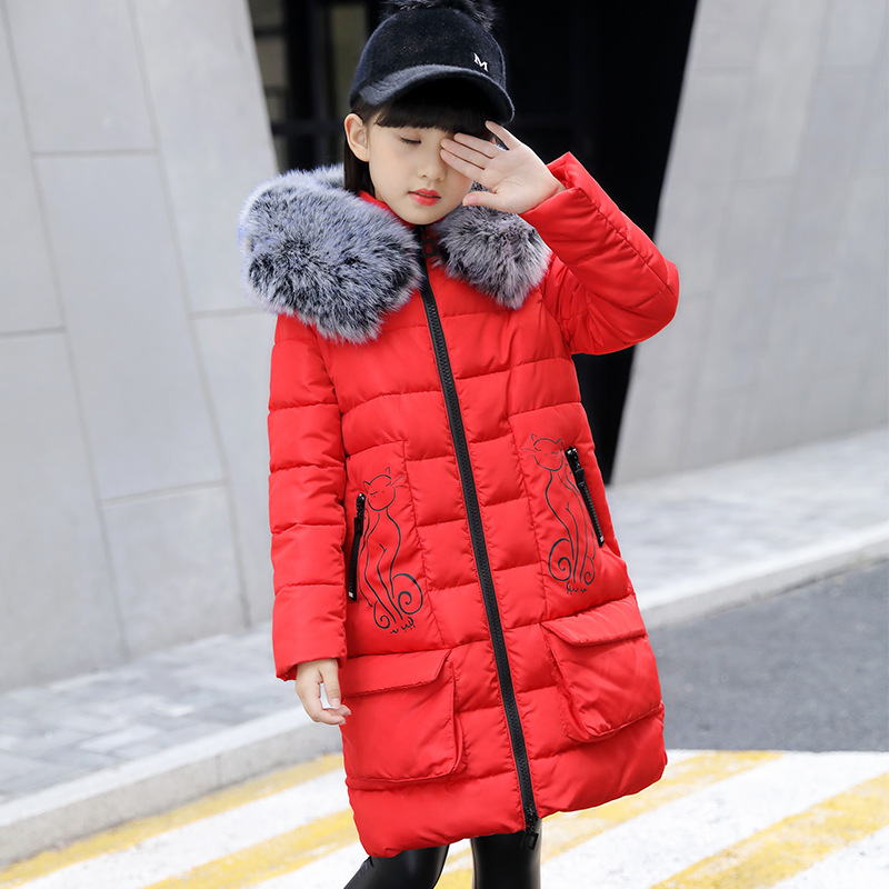 Baby Girls Winter Coat Children's Winter Jacket Girl Kids Hooded Warm Thicken Long Outwear 2017 Fashion Children Parkas for Girl russia 2016 children outerwear baby girl winter wadded jacket girl warm thickening parkas kids fashion cotton padded coat jacket