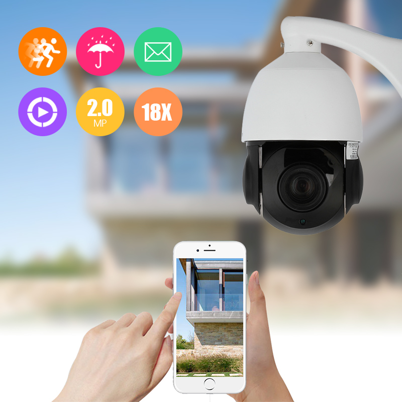 Floureon Intelligent 1080P IP PTZ IR Speed Dome Camera with 18X Zoom 2.0MP Outdoor Waterproof Security CCTV IP Optical Camera 4 in 1 ir high speed dome camera ahd tvi cvi cvbs 1080p output ir night vision 150m ptz dome camera with wiper