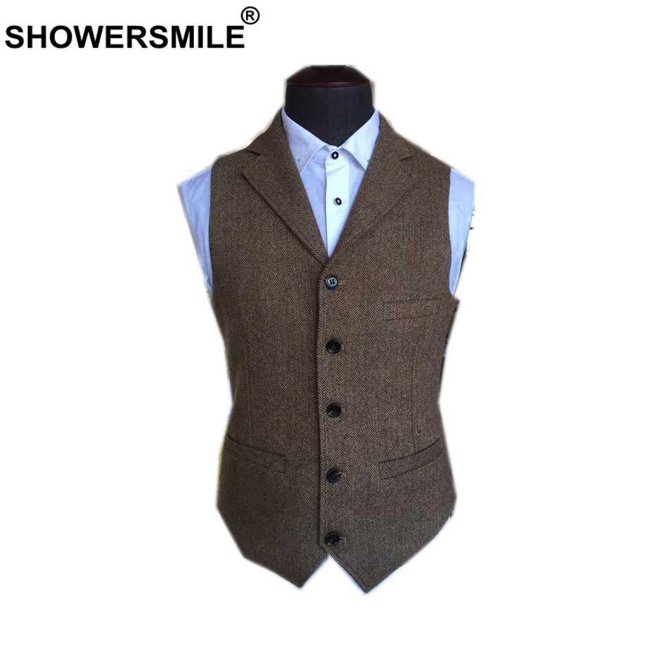 Chaleco de traje SHOWERSMILE para hombre de lana Tweed Chaleco de estilo británico marrón clásico ajustado Fit espiga chaqueta sin mangas talla grande 4XL