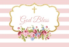 Laeacco Baby Party Pink Stripes Flowers Cross Glitter Photography Backgrounds Customized Photographic Backdrops For Photo Studio