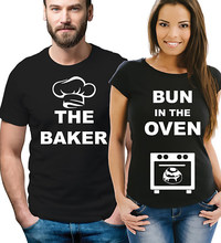 7f15c4fa7ef03 COUPLE T Shirt Men Tops Women TShirt Cotton Enjoythespirit Pregnancy Reveal Couple  T-shirts The Baker and Bun In The Oven Xs-3xl