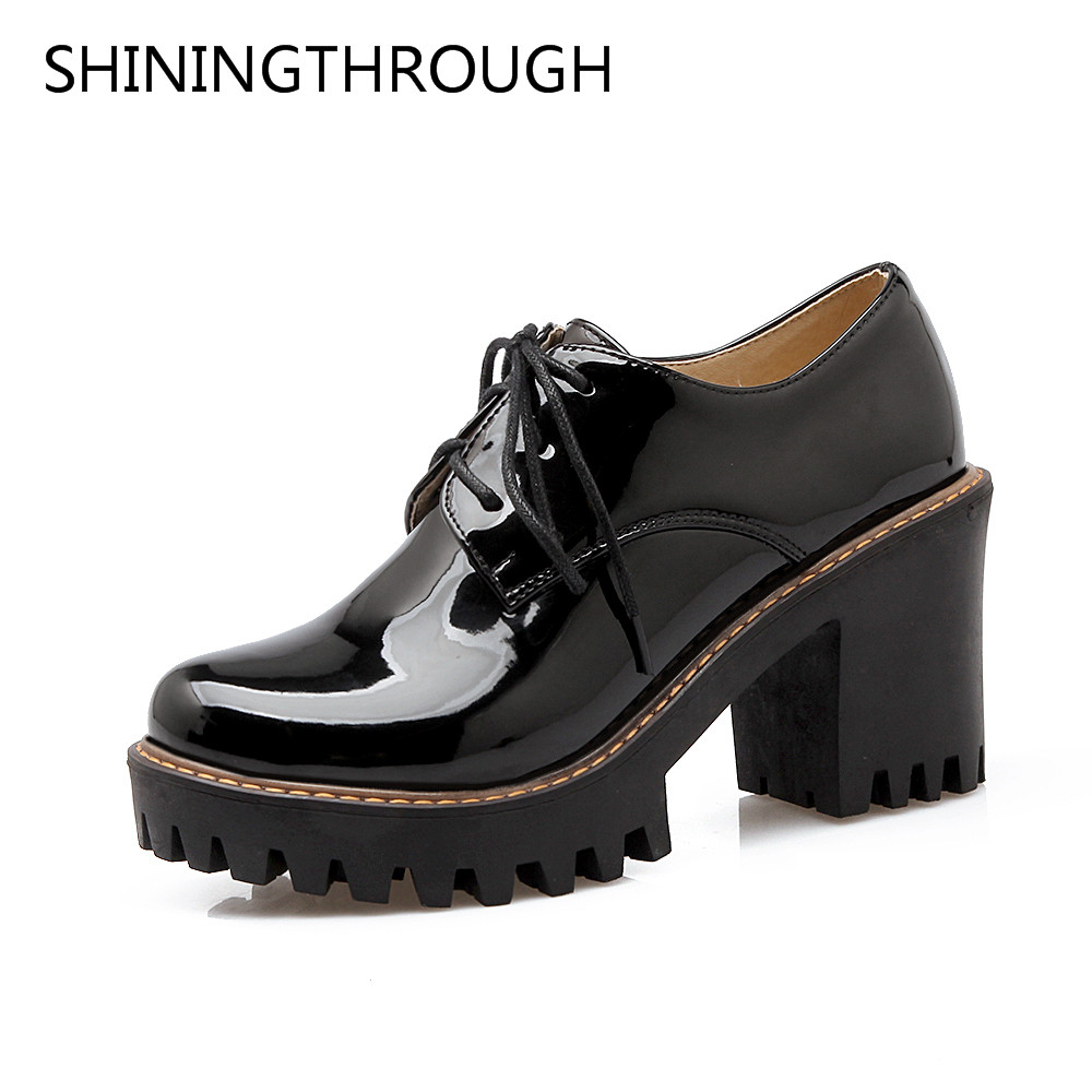 SHININGTHROUGH 2018 Spring Autumn Fashion Lace Up Shallow Ol Pumps Woman Large Size 33-43 Low Square Heel Ol Mature Women Shoes [328] women autumn fashion shoes pu skin shallow low heeled shoes with high heel pointed shoes for ol lss 888
