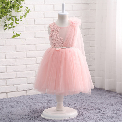 2018 Romantic pink Tull Lace   Flower     Girl     Dress   for Weddings Organza Ball Gown   Girl   Party Communion   Dress   Pageant Gown