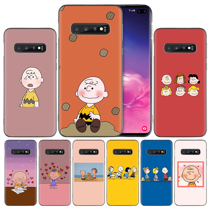 PEANUTS Pattern Black Silicone Case Cover for Samsung Galaxy S10 S10e 5G S9 S8 S7 Edge J8 J6 J4 Plus 2018 Note 8 9