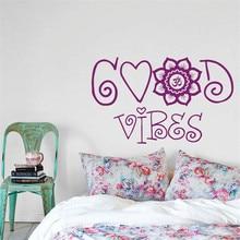 Wall Decal Good Vibes Mandala Moroccan Pattern Namaste Indian Yoga Studio Bedroom Dorm Living Room Home Decor Art Murals