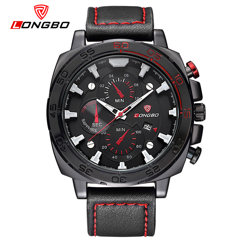 LongBo 2018 Sports Watch Men Top Brand Luxury Male Clock Quartz leather strap Wristwatches for men Relogio Masculino relojes