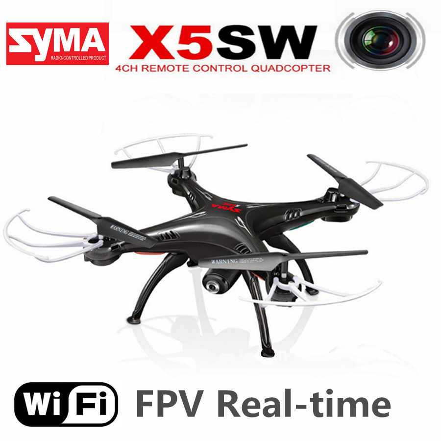 Syma X5SW RC Drone With Camera Real Time Transmission RC Helicopter 2.4GHz 4CH 6-Axis Quadcopter Headless Mode WiFi FPV RTF Dron syma x5sw wifi rc drone fpv quadcopter with camera headless 2 4g 6 axis real time remote control helicopter quadcopter toy