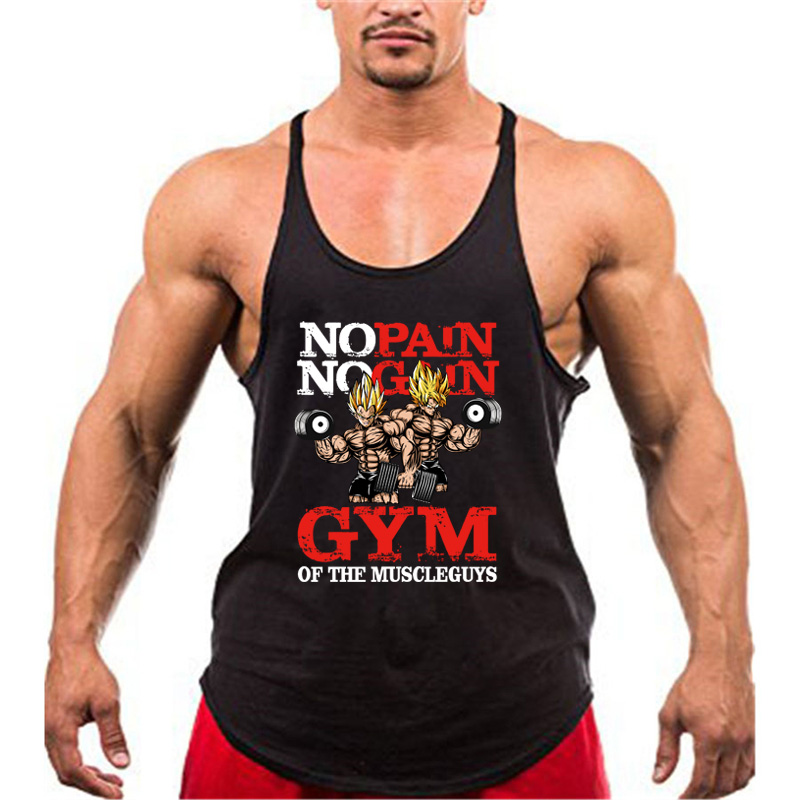 Bodybuilding Stringer Tank Tops Men Anime Funny Summer Tops No Pain No Gain Vest Fitness Clothing Cotton Gym Singlets