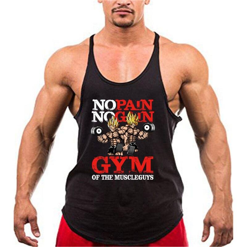 Bodybuilding Stringer   Tank     Tops   Men Anime funny summer   Tops   No Pain No Gain vest Fitness clothing Cotton gym singlets