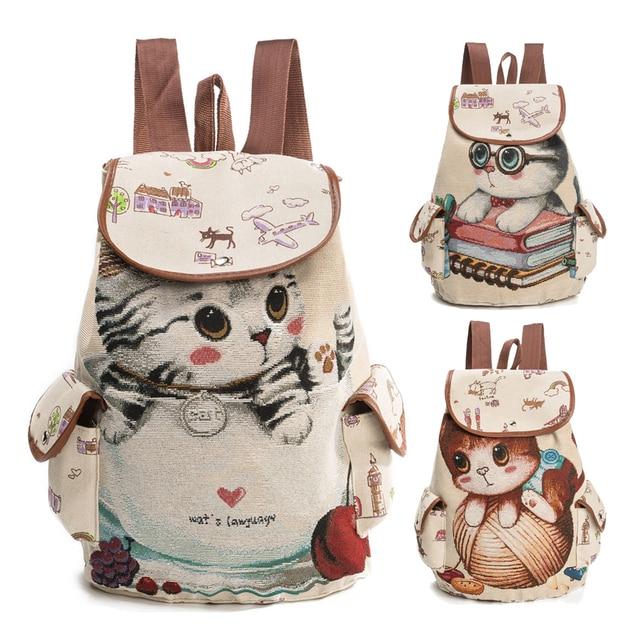 Lemon Kitten Canvas Cat Printing Kids Backpack Softback Zipper