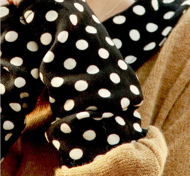 Batwing sleeve Dot peter pan collar cute sweater autumn thin pullover sweaters long sleeve patchwork new cute knitwear oversized