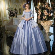 Синий рококо барокко Марии Антуанетты бальное платье 18-ого века Ренессанс истории вечерние платья для женщин по индивидуальному заказу