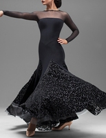 fashion black Modern dance one piece dress waltzing dresses