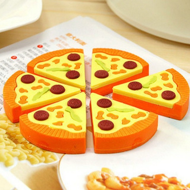 6pcs set pizza box eraser gomas de borrar cute goma de borrar creative stationery gomme