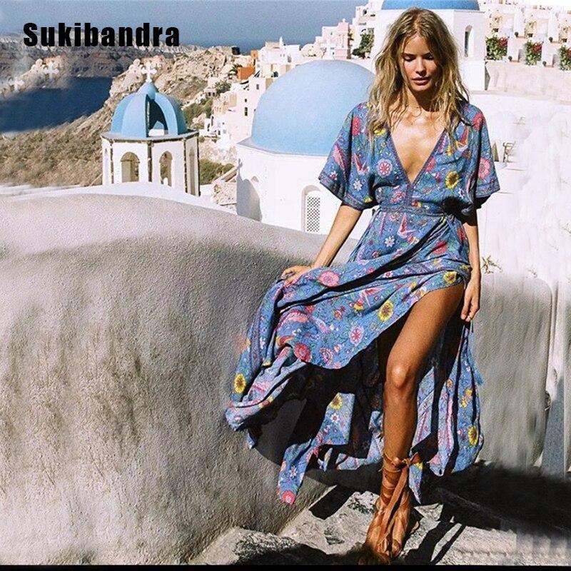 6b3a5e7bd176e US $31.99 40% OFF|Sukibandra 2018 Floral Print Maxi Long Summer Dresses V  Neck Boho Chic Beach Dress Bohemian Hippie Tassel Backless Women Dress-in  ...