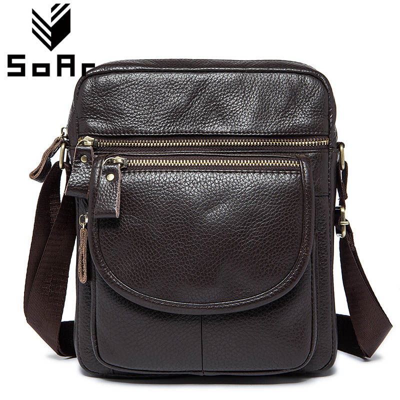 SoAr Real Genuine Leather Men Bag Shoulder Messenger Bags New Cowhide Men Crossbody Fashion Casual Briefcase Handbags Travel Bag
