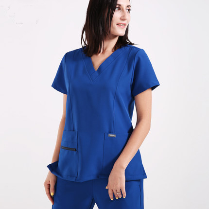 Medical Surgical Scrub Sets Doctors Nurses Uniforms Short-sleeved Hospital Clothing Dental Clinic Beauty Salon Workwear Overalls ai lianxin new women doctors and nurses surgical caps hat cotton cap and short hair with sweatbands alx 114